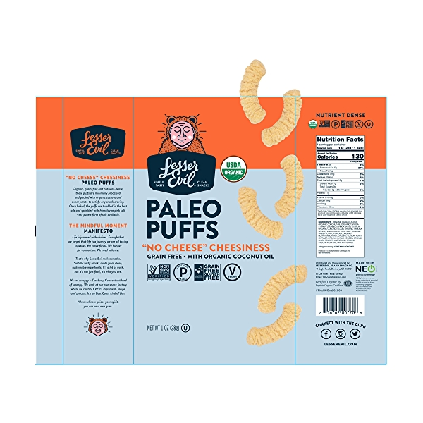 Paleo Puffs, No Cheese Cheesiness, 1 oz 2