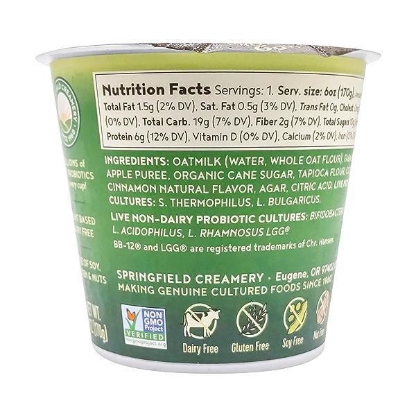 Apple Cinnamon Probiotic Oat Milk Yogurt, 6 oz 2