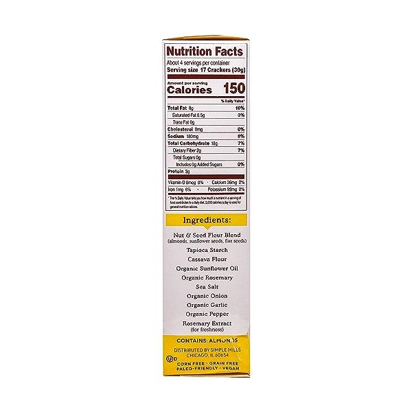 Rosemary & Sea Salt Almond Flour Crackers, 4.25 oz 2