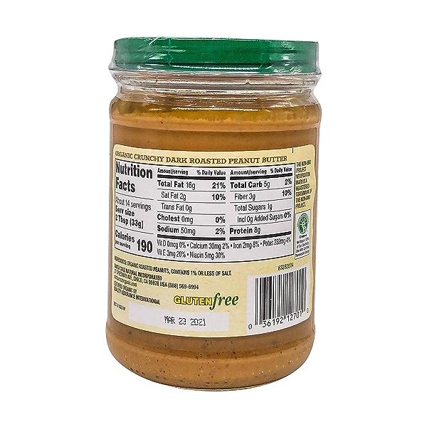 Organic Crunchy Dark Roasted Peanut Butter, 16 oz 2