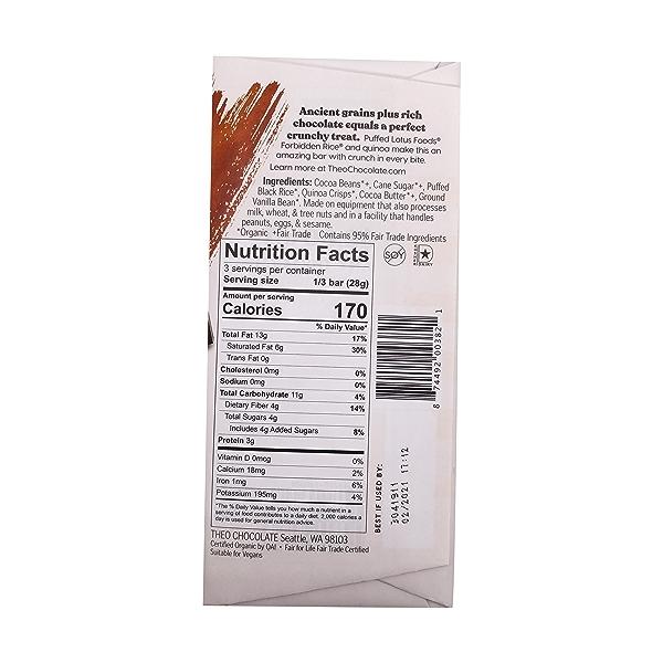 Organic Black Rice Quinoa Crunch 5% Dark Chocolate Bar, 3 oz 2