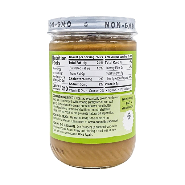 Once Again Organic Lightly Sweetened Sunflower Butter, 16 oz 3