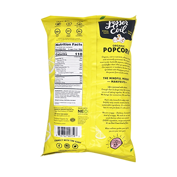 Organic Lemonade Popcorn With Coconut Oil, 5 oz 2