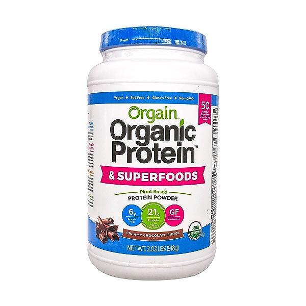 Organic Protein™ + Superfoods Powder - Plant Based Creamy Chocolate Fudge, 2.02 lbs 1