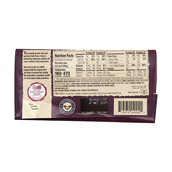 Passion Fruit Filled Ruby Chocolate Bar, 3.2 oz 2