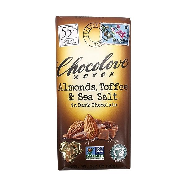 Almonds, Toffee & Sea Salt Dark Chocolate Bar, 3.2 oz 1