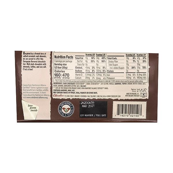 Almonds, Toffee & Sea Salt Dark Chocolate Bar, 3.2 oz 2