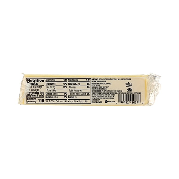 Organic Cheese Bar, Sharp Cheddar, 8 oz 9