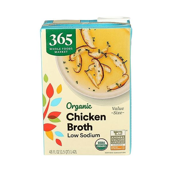 Organic Broth, Chicken - Low Sodium, 48 fl oz 1