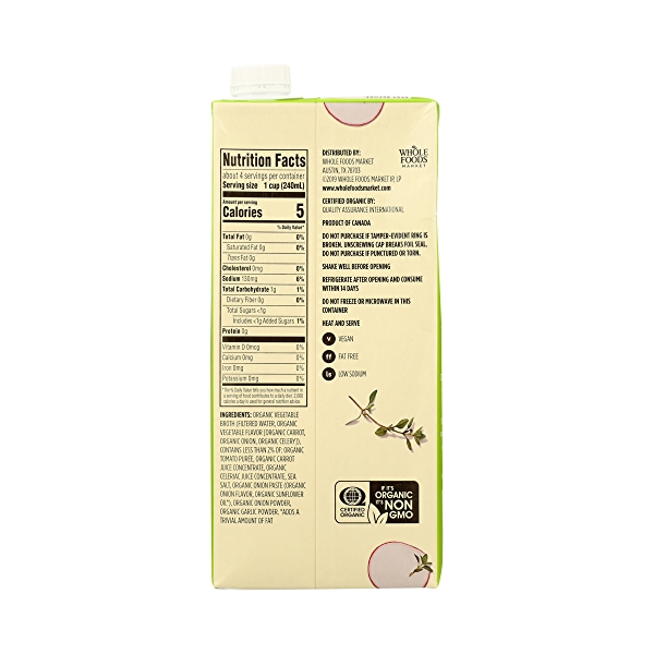 Organic Broth, Vegetable - Low Sodium, 32 fl oz 7