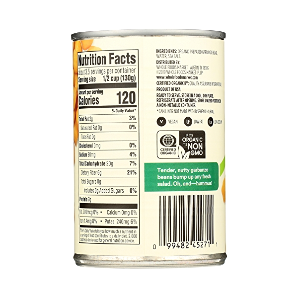 Organic Shelf-Stable Beans, Garbanzo, 15.5 oz 7