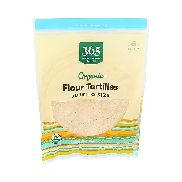 Organic Tortillas, Flour - Burrito Size (6 Tortillas), 16 oz 1