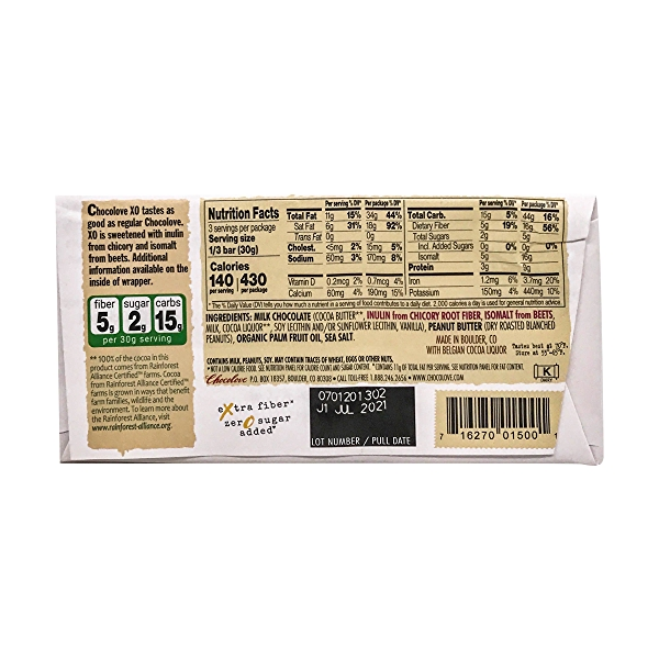 Salted Peanut Butter Milk Chocolate Bar, 3.2 oz 2