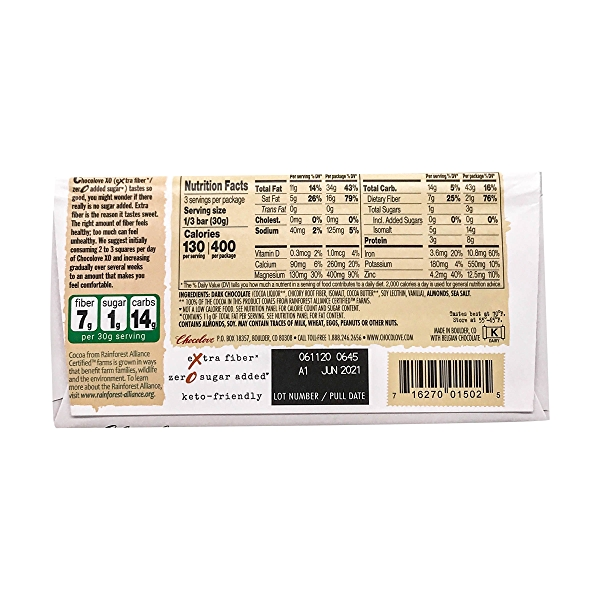 Almond And Sea Salt Dark Chocolate Bar, 3.2 oz 2