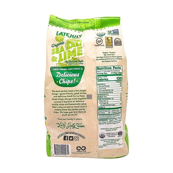 Organic Sea Salt & Lime Tortilla Chips, 11 oz 2