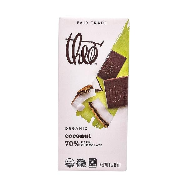 Organic Fair Trade Coconut (70%) Dark Chocolate Bar, 3 oz 1