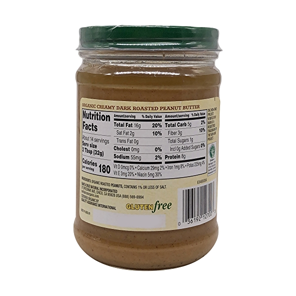 Organic Dark Roasted Creamy Peanut Butter, 16 oz 2