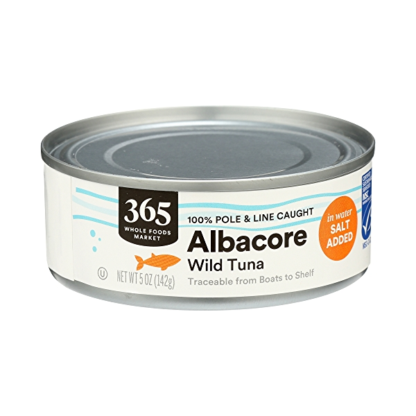 Canned Wild Tuna, Albacore in Water with Salt Added (100% Pole & Line Caught), 5 oz 3
