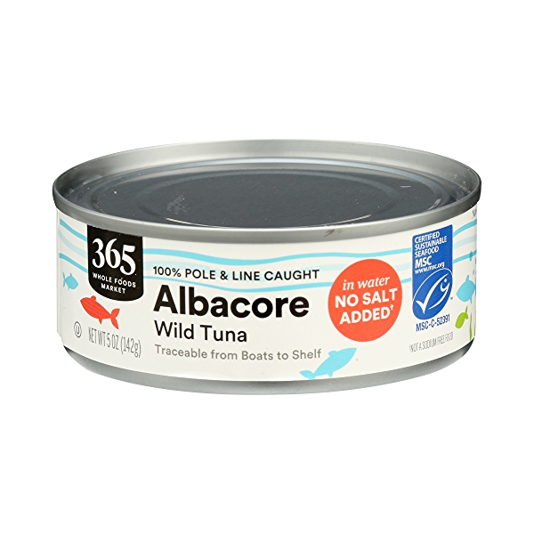 Canned Wild Tuna, Albacore in Water No Salt Added (100% Pole & Line Caught), 5 oz 2