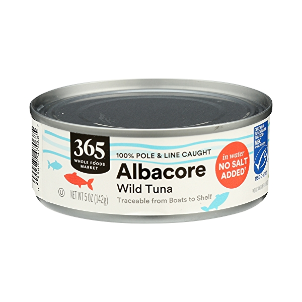 Canned Wild Tuna, Albacore in Water No Salt Added (100% Pole & Line Caught), 5 oz 3