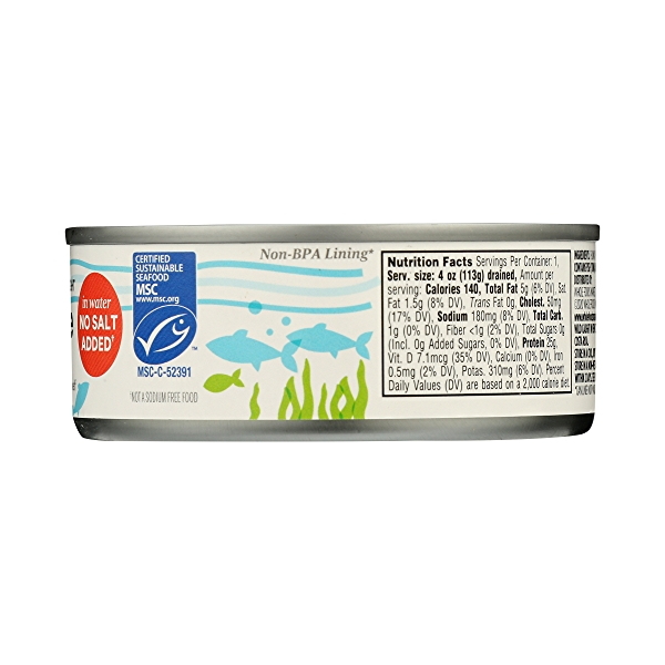 Canned Wild Tuna, Albacore in Water No Salt Added (100% Pole & Line Caught), 5 oz 8