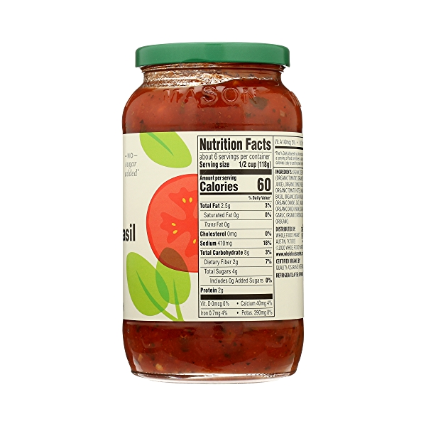 Organic Pasta Sauce, Tomato Basil, 25 oz 8
