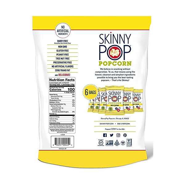 Popcorn Skinnypack White Cheddar 6pk, 3.9 oz 2