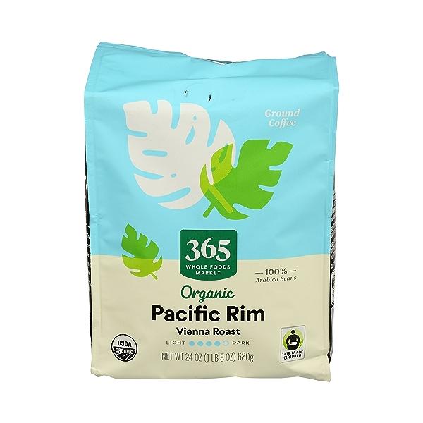 Organic Ground Coffee in Bag, Vienna Roast - Pacific Rim, 24 oz 1