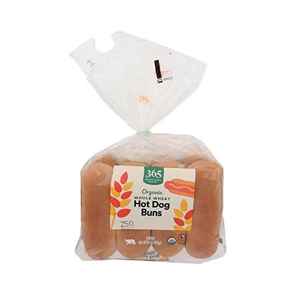 Organic Hot Dog Buns, Whole Wheat (8 Buns), 15 oz 1