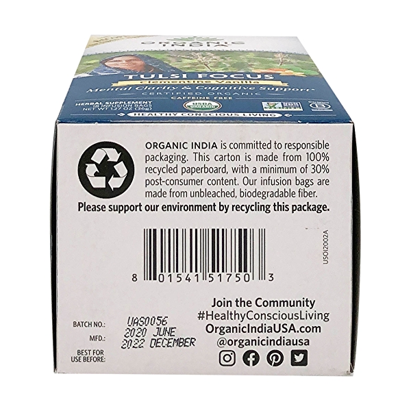 Organic Clementine Vanilla Tulsi Focus Tea, 1.27 oz 6