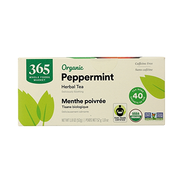 Organic Herbel Tea - Caffeine Free, Peppermint (40 Tea Bags), 1.8 oz 6