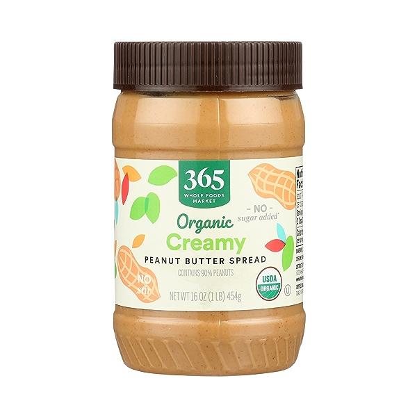 Organic Peanut Butter, Creamy - No Sugar Added, 16 oz 1
