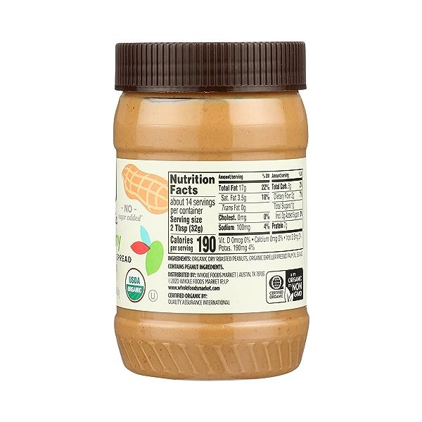 Organic Peanut Butter, Creamy - No Sugar Added, 16 oz 5