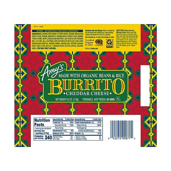 Frozen Cheddar Cheese, Bean & Rice Burrito, Non-GMO 2