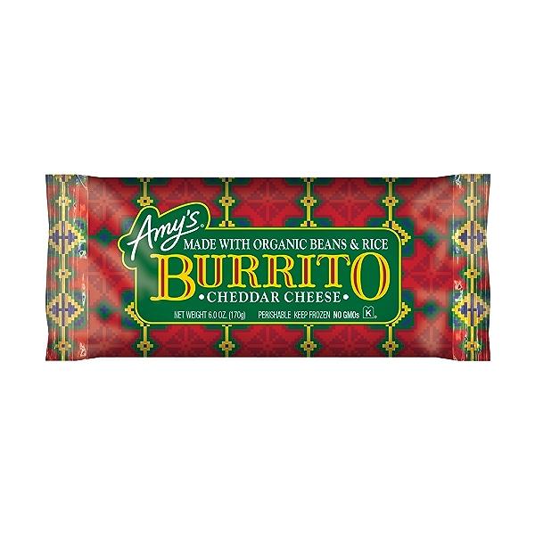 Frozen Cheddar Cheese, Bean & Rice Burrito, Non-GMO 1