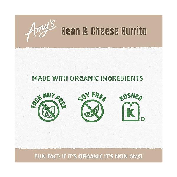 Frozen Cheddar Cheese, Bean & Rice Burrito, Non-GMO 3