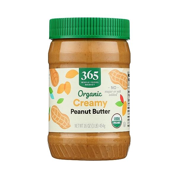 Organic Creamy Peanut Butter (Unsweetened & No Salt), 16 oz 1