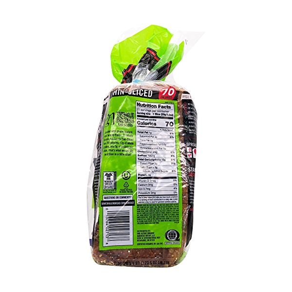 Organic Thin-sliced 21 Whole Grains And Seeds Bread, 20.5 oz 2