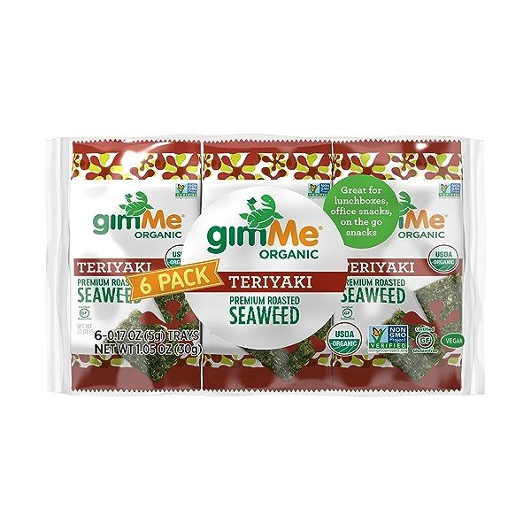Organic Roasted Premium Seaweed Snack, Teriyaki, .17 Oz, 6 Pack, 1.05 oz 1