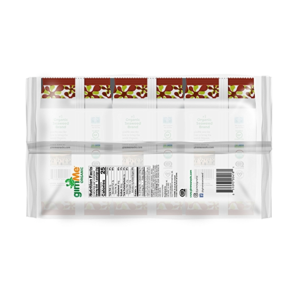 Organic Roasted Premium Seaweed Snack, Teriyaki, .17 Oz, 6 Pack, 1.05 oz 3