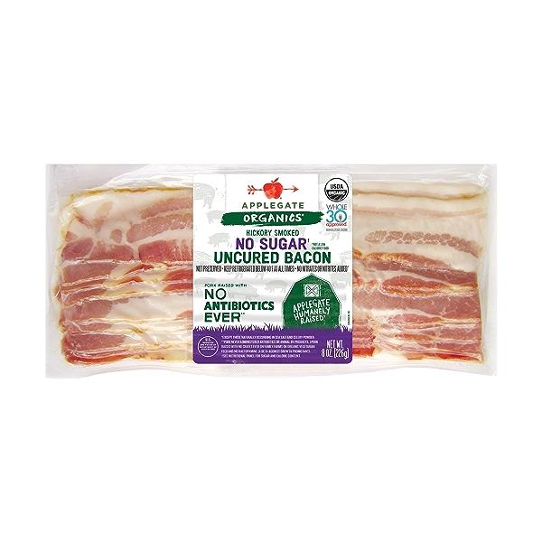 Organic Hickory Smoked No Sugar Uncured Bacon 1
