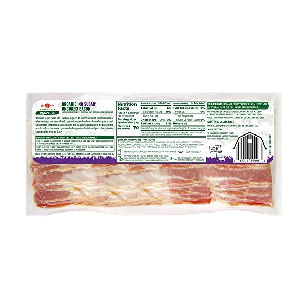 Organic Hickory Smoked No Sugar Uncured Bacon 2