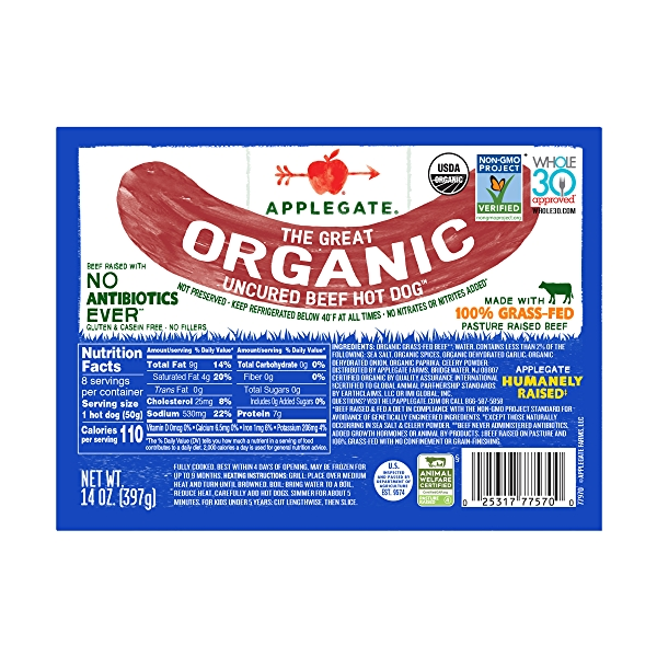 The Great Organic Uncured Beef Hot Dog 1