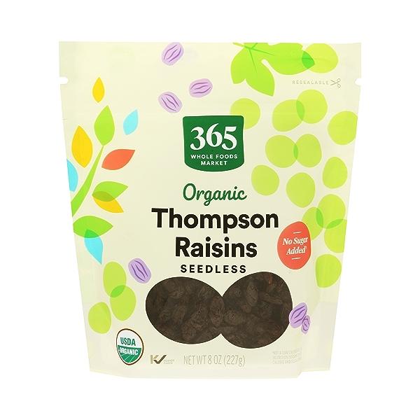 Organic Dried Fruit Thompson Raisins - Seedless, 8 oz 1