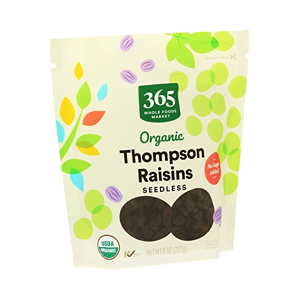 Organic Dried Fruit Thompson Raisins - Seedless, 8 oz 2