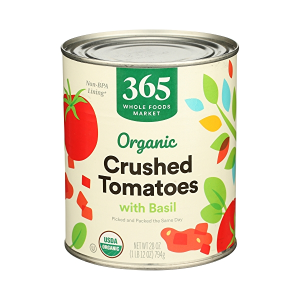 Organic Shelf-Stable Tomatoes Crushed (with Basil), 28 oz 1
