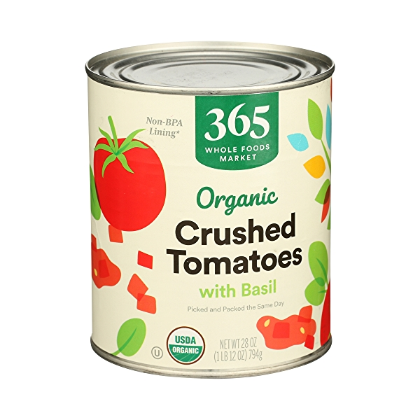 Organic Shelf-Stable Tomatoes Crushed (with Basil), 28 oz 2