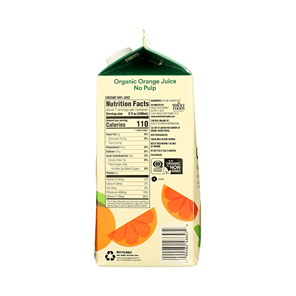 Organic 100% Orange Juice No Pulp (Not From Concentrate), 59 fl oz 6