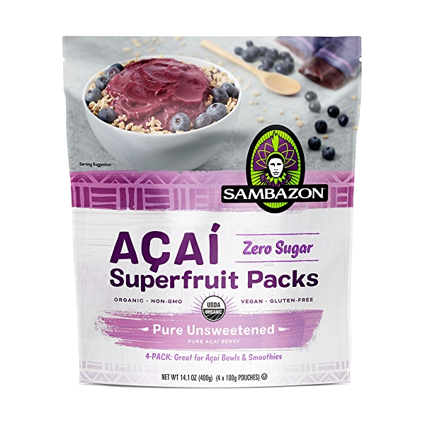 Unsweetened Açaí Smoothie Superfruit Pack, 100g, 4-Pack, 14.1 oz 1