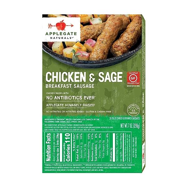 Natural Chicken & Sage Breakfast Sausage, 7oz (Frozen) 2